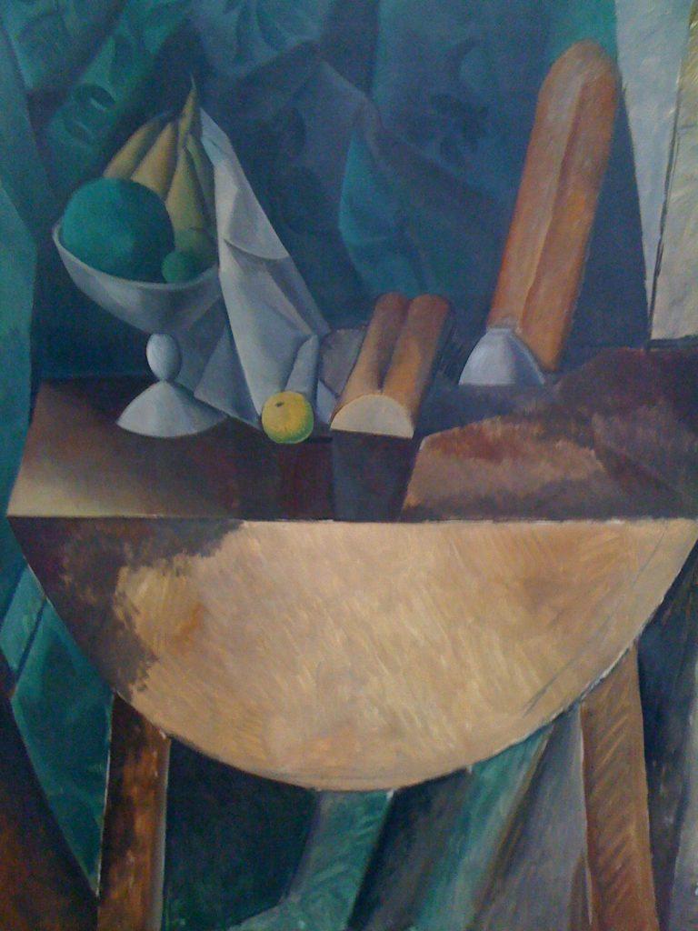 """""""Хляб и ваза с плодове на маса"""", Пикасо, 1909г"""
