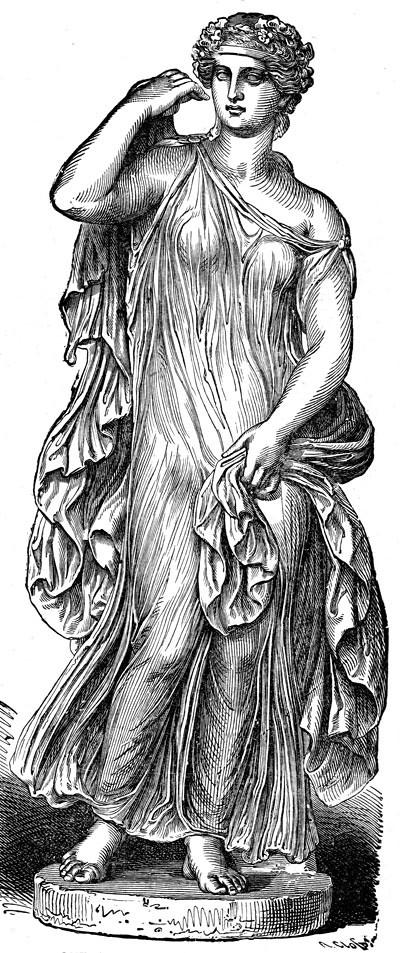 Жена, облечена в пеплос и химатион
