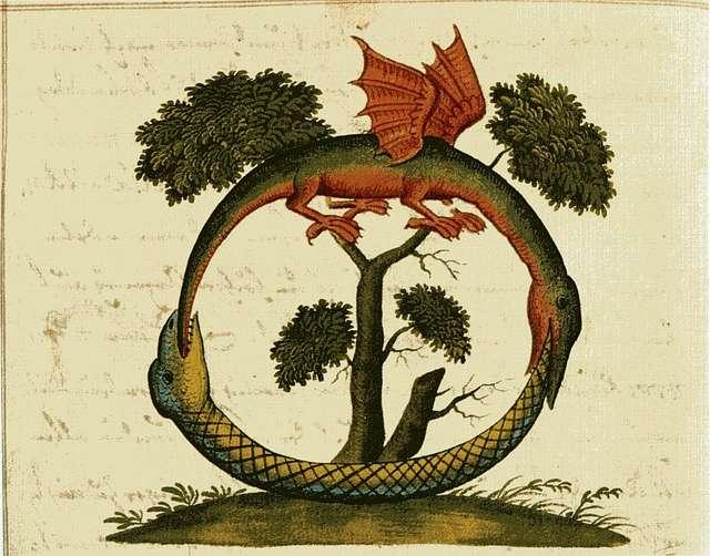 Символът уроборос, срещащ се в много религии, и под различна форма.